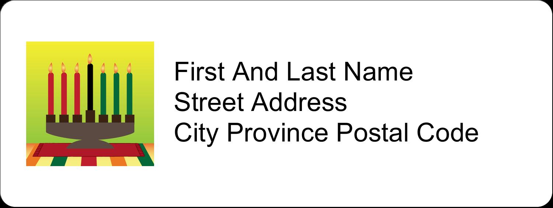 "⅔"" x 1¾"" Address Label - Kwanzaa Green Glow"