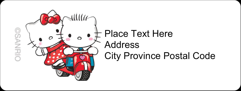 "⅔"" x 1¾"" Address Label - Hello Kitty & Dear Daniel Valentine"