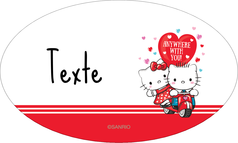 """1½"""" x 1½"""" Étiquettes carrées - Hello Kitty et Cher Daniel Valentin"""
