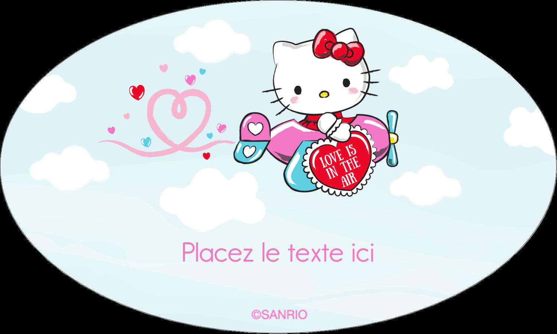 """1½"""" x 1½"""" Étiquettes carrées - Hello Kitty Saint-Valentin - Mon cœur monte pour vous"""