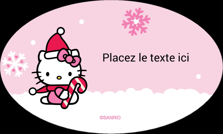 """1½"""" x 1½"""" Étiquettes carrées - Canne en bonbon de Noël Hello Kitty"""