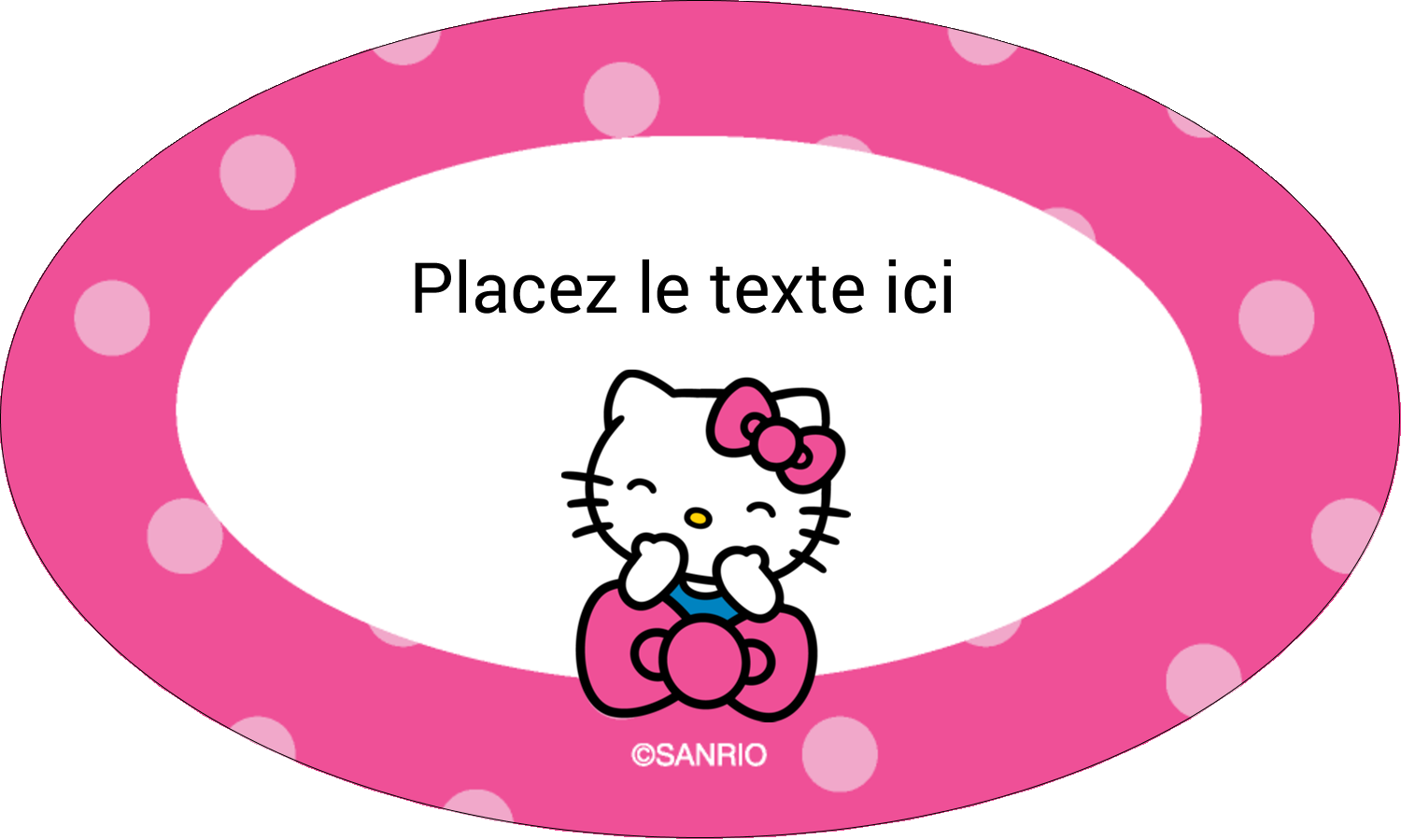 """1½"""" x 2½"""" Étiquettes ovales - Hello Kitty rigole"""