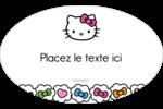 Hello Kitty Cœurs et Nœuds Étiquettes carrées - gabarit prédéfini. <br/>Utilisez notre logiciel Avery Design & Print Online pour personnaliser facilement la conception.