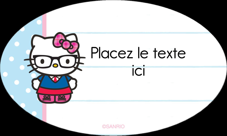 """1½"""" x 1½"""" Étiquettes carrées - Hello Kitty avec des lunettes"""