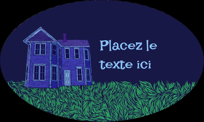 """1½"""" x 1½"""" Étiquettes carrées - Maison hantée d'Halloween à la craie"""