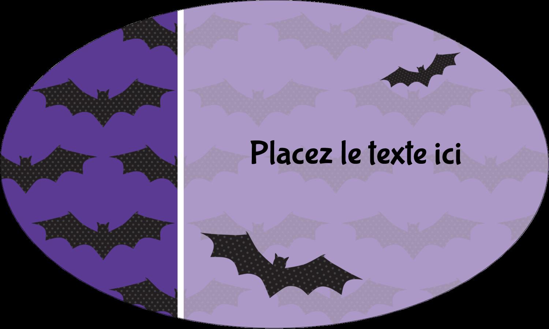 """1½"""" x 1½"""" Étiquettes carrées - Chauves-souris d'Halloween"""