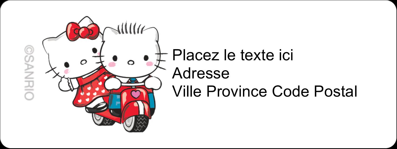 """1½"""" x 4"""" Étiquettes D'Adresse - Hello Kitty et Cher Daniel Valentin"""