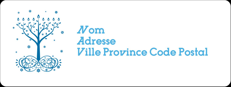 """1½"""" x 4"""" Étiquettes D'Adresse - Arbre de Hanoukka"""