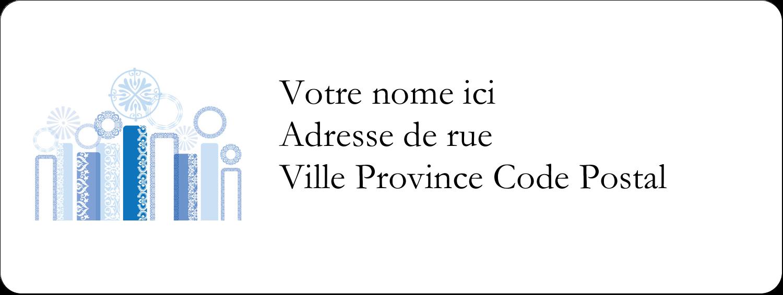 """1½"""" x 4"""" Étiquettes D'Adresse - Chandelier bleu de Hanoukka"""
