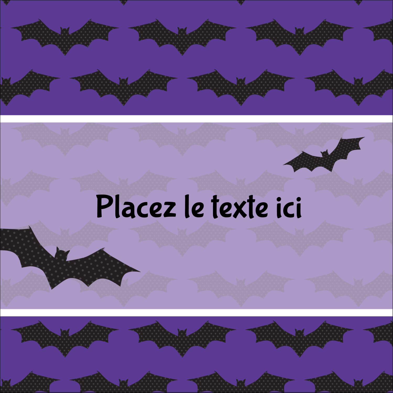 """2"""" x 2"""" Étiquettes carrées - Chauves-souris d'Halloween"""