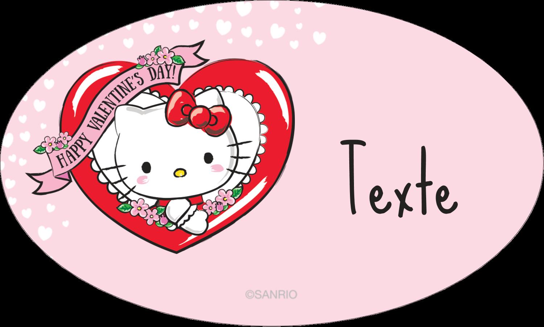 """1½"""" x 1½"""" Étiquettes carrées - Hello Kitty Saint-Valentin"""