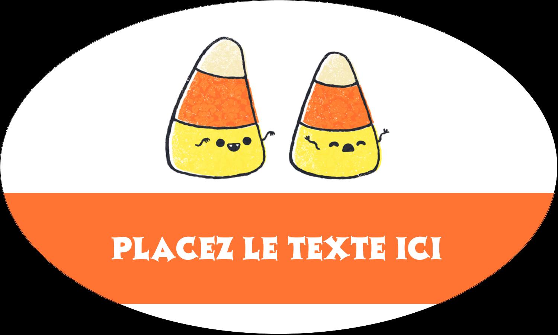 """1½"""" x 1½"""" Étiquettes carrées - Bonbons de maïs d'Halloween"""