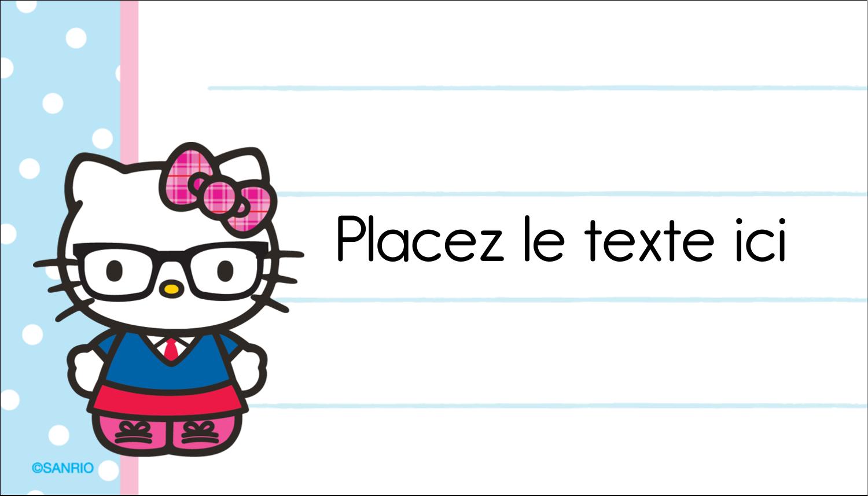 """2"""" x 3½"""" Carte d'affaire - Hello Kitty avec des lunettes"""