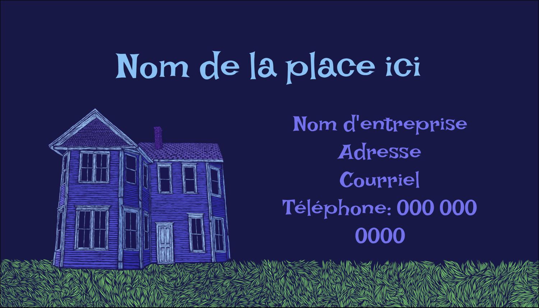 """2"""" x 3½"""" Carte d'affaire - Maison hantée d'Halloween à la craie"""