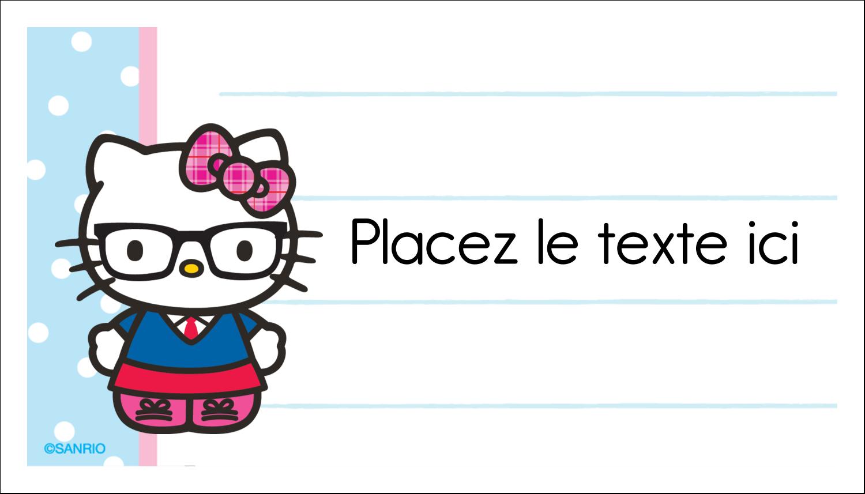 """3"""" x 5"""" Cartes Pour Le Bureau - Hello Kitty avec des lunettes"""