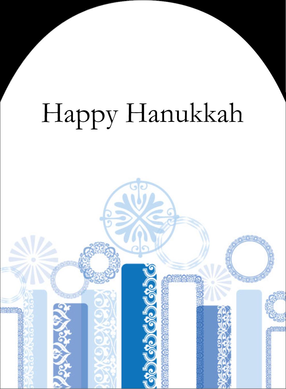 """4¾"""" x 3½"""" Arched Label - Hanukkah Menorah Blue"""