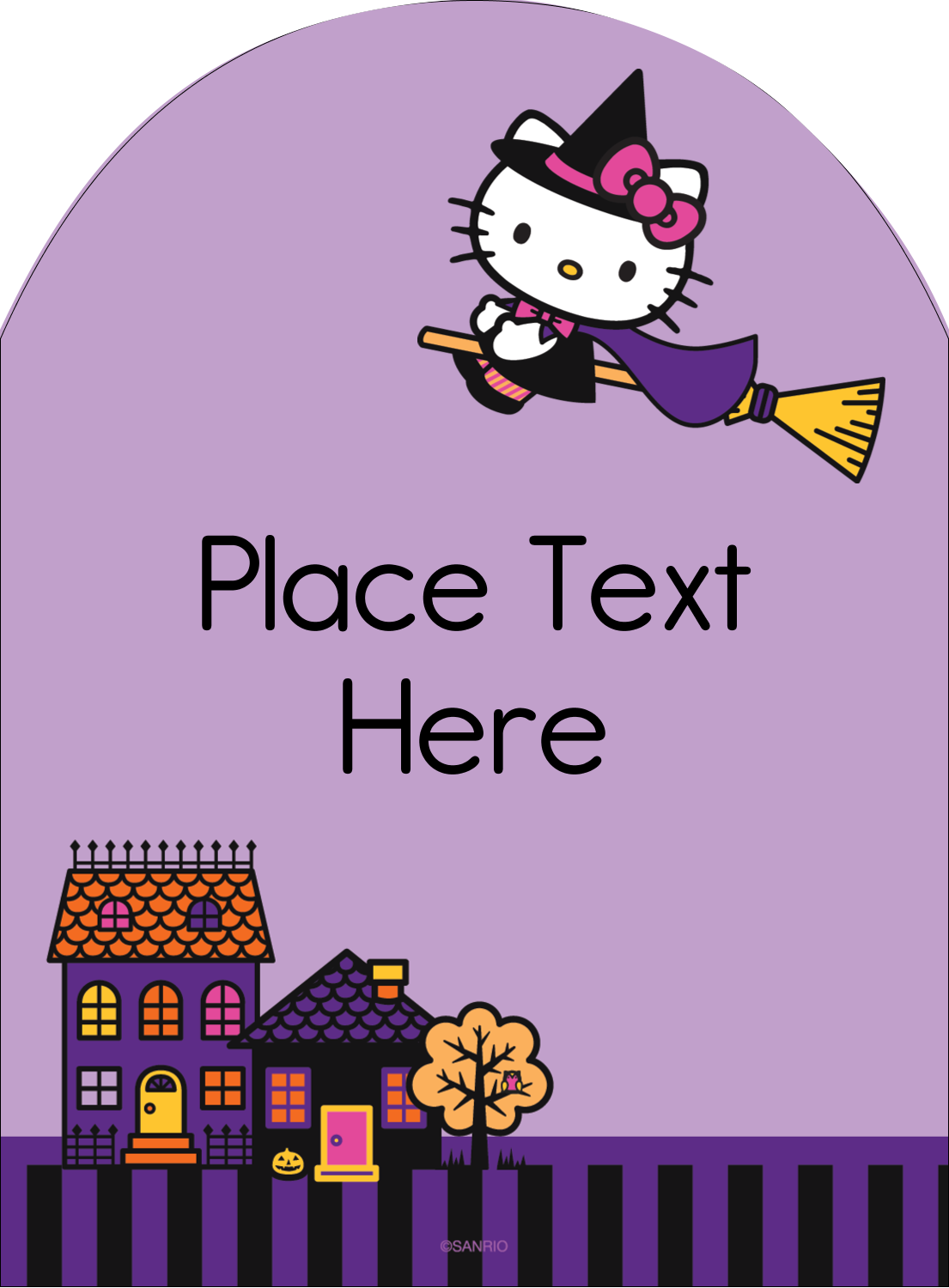 "4¾"" x 3½"" Arched Label - Hello Kitty Halloween"
