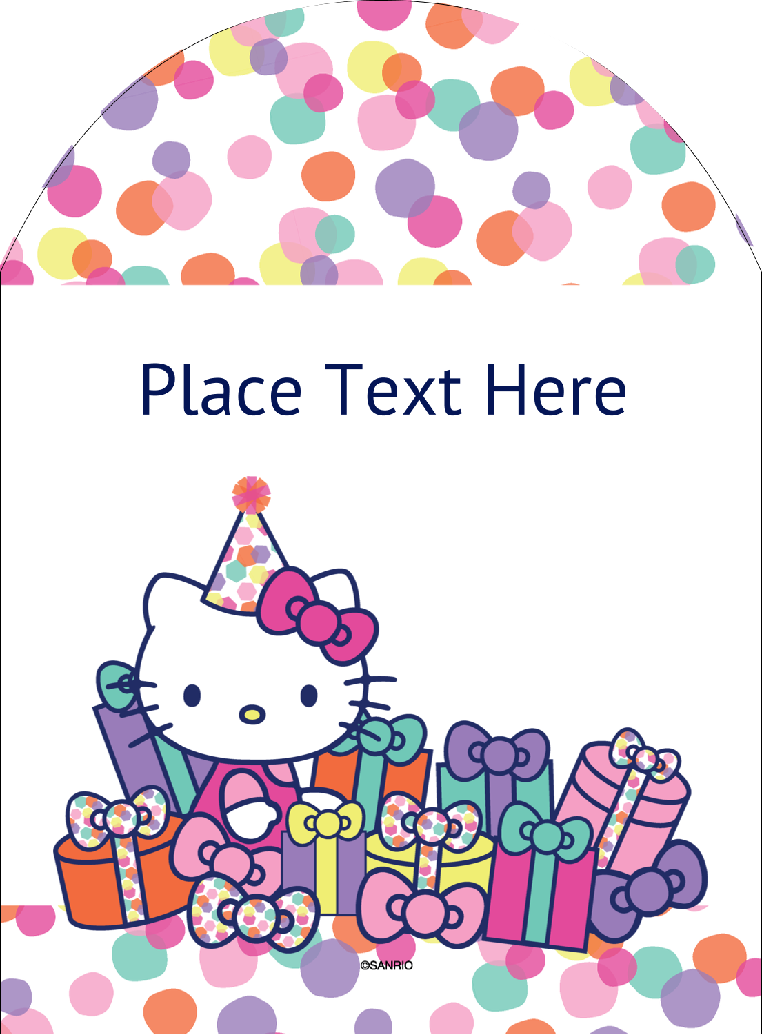 "4¾"" x 3½"" Arched Label - Hello Kitty Birthday"