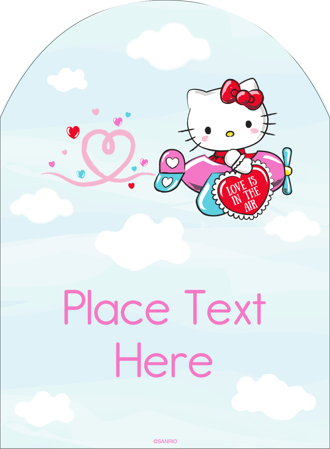 "4¾"" x 3½"" Arched Label - Hello Kitty Valentine – You Make My Heart Soar"