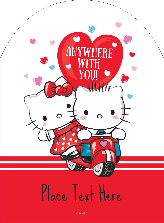 "4¾"" x 3½"" Arched Label - Hello Kitty & Dear Daniel Valentine"
