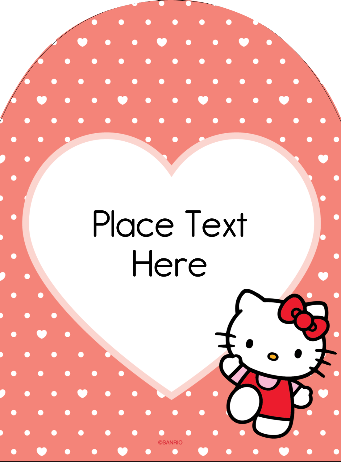 """4¾"""" x 3½"""" Arched Label - We love Hello Kitty"""