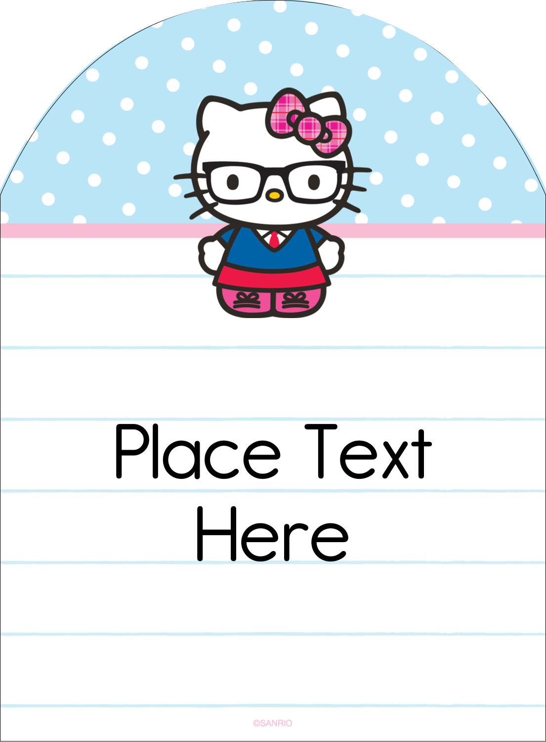 "4¾"" x 3½"" Arched Label - Hello Kitty with Glasses"