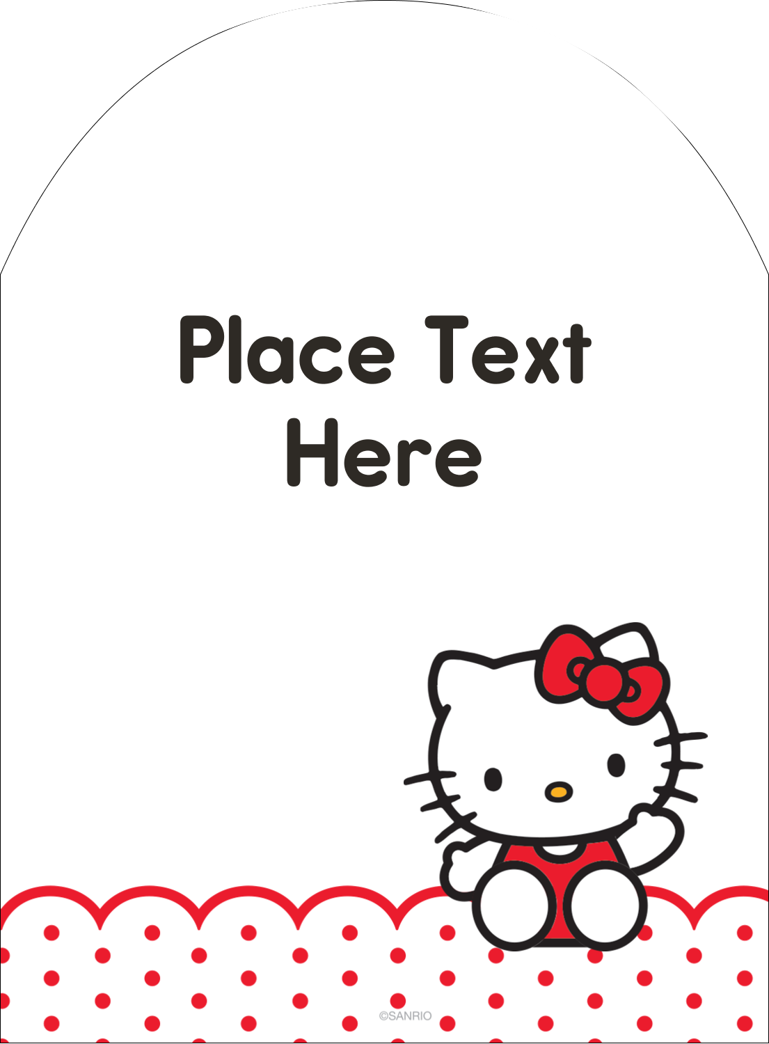 """4¾"""" x 3½"""" Arched Label - Hello Kitty Waving"""