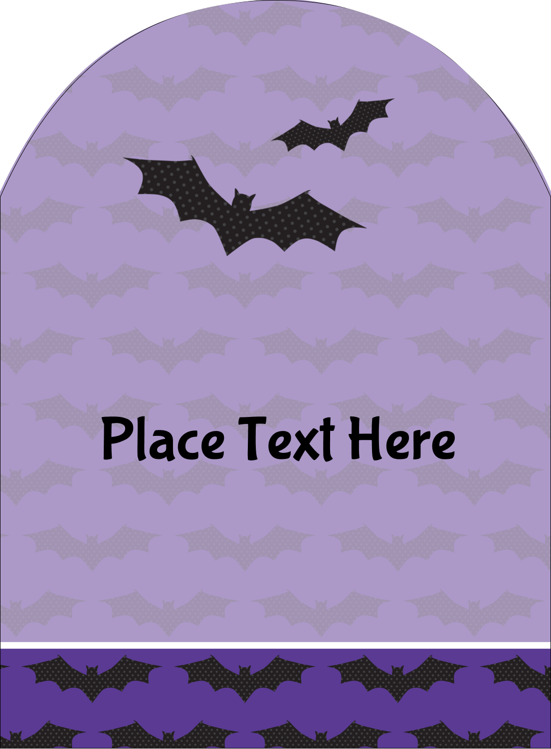 "4¾"" x 3½"" Arched Label - Halloween Bats"