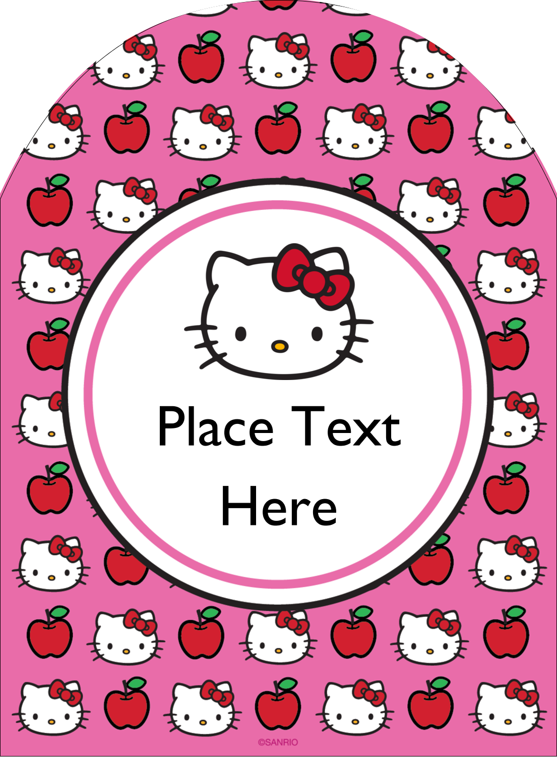 """4¾"""" x 3½"""" Arched Label - Hello Kitty Loves Apples!"""