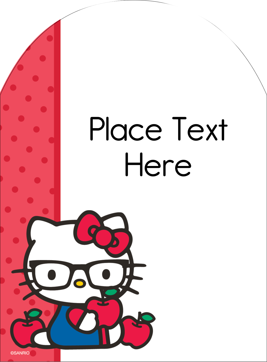 """4¾"""" x 3½"""" Arched Label - Your Friend Hello Kitty"""