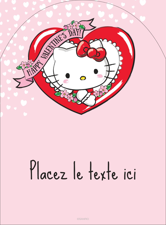 "4¾"" x 3½"" Étiquettes rectangulaires - Hello Kitty Saint-Valentin"