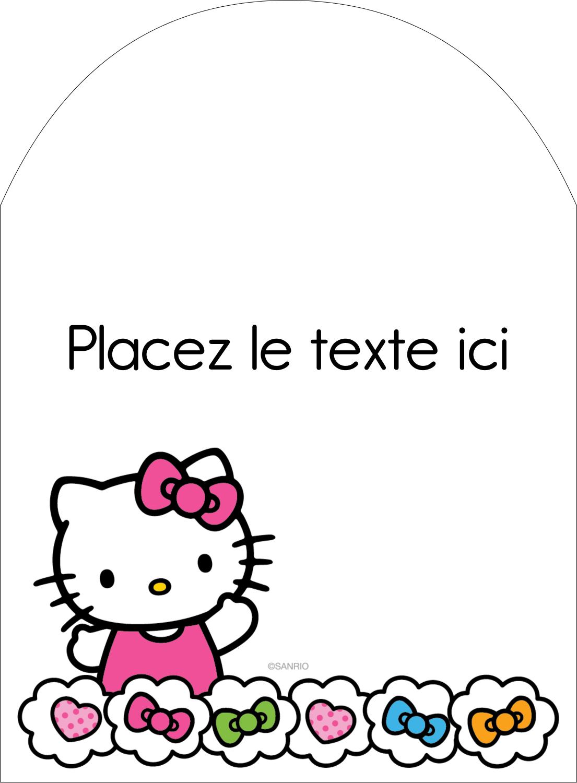 """4¾"""" x 3½"""" Étiquettes rectangulaires - Hello Kitty Cœurs et Nœuds"""