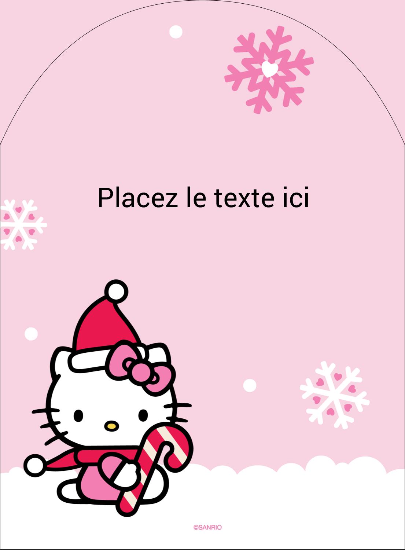 """4¾"""" x 3½"""" Étiquettes rectangulaires - Canne en bonbon de Noël Hello Kitty"""