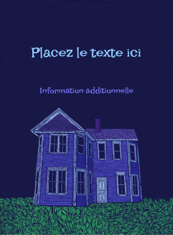 """4¾"""" x 3½"""" Étiquettes rectangulaires - Maison hantée d'Halloween à la craie"""