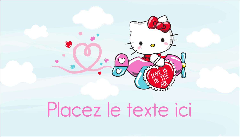 """2"""" x 3½"""" Carte d'affaire - Hello Kitty Saint-Valentin - Mon cœur monte pour vous"""