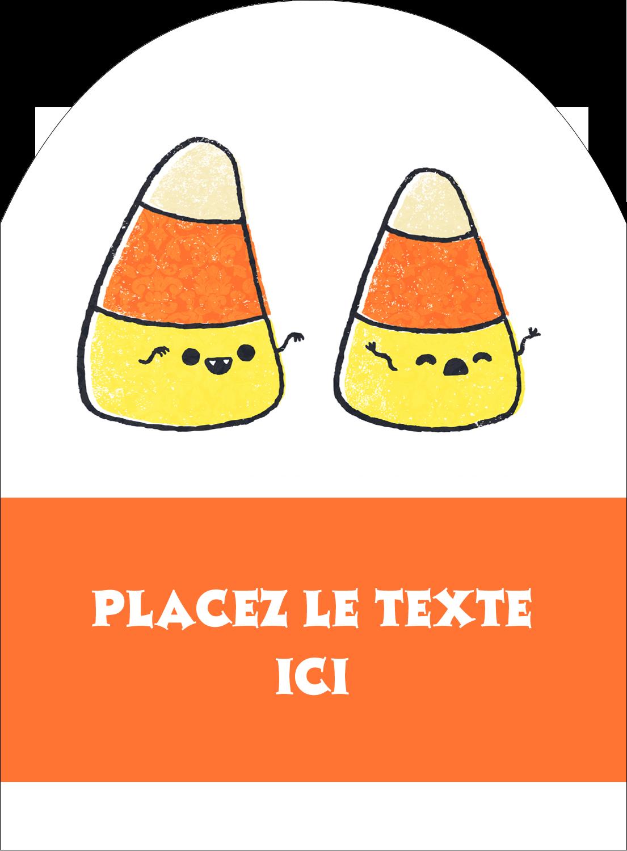 """4¾"""" x 3½"""" Étiquettes rectangulaires - Bonbons de maïs d'Halloween"""