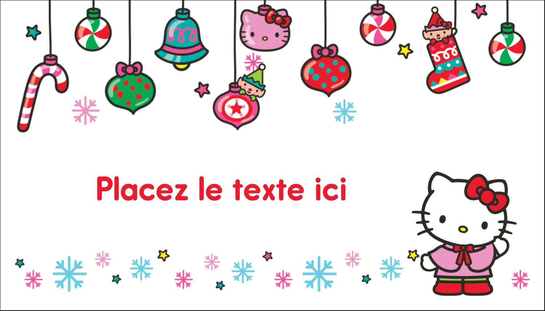 "2"" x 3½"" Carte d'affaire - Hello Kitty Fêtes"