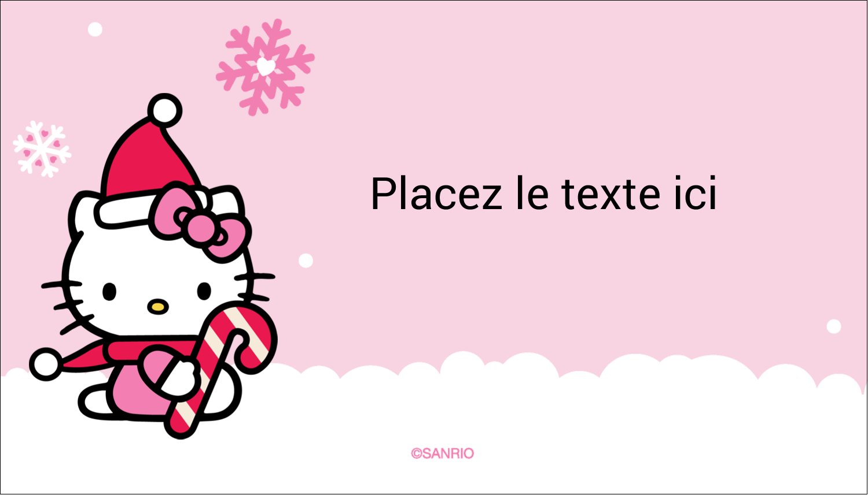 "2"" x 3½"" Carte d'affaire - Canne en bonbon de Noël Hello Kitty"