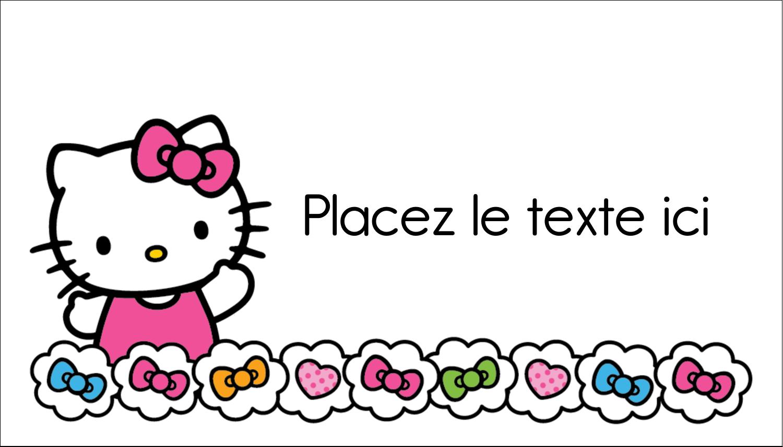 """2"""" x 3½"""" Carte d'affaire - Hello Kitty Cœurs et Nœuds"""