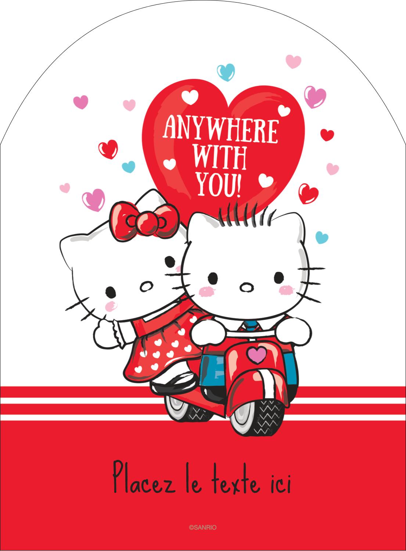"""4¾"""" x 3½"""" Étiquettes rectangulaires - Hello Kitty et Cher Daniel Valentin"""