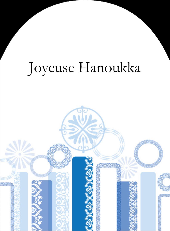 """4¾"""" x 3½"""" Étiquettes rectangulaires - Chandelier bleu de Hanoukka"""