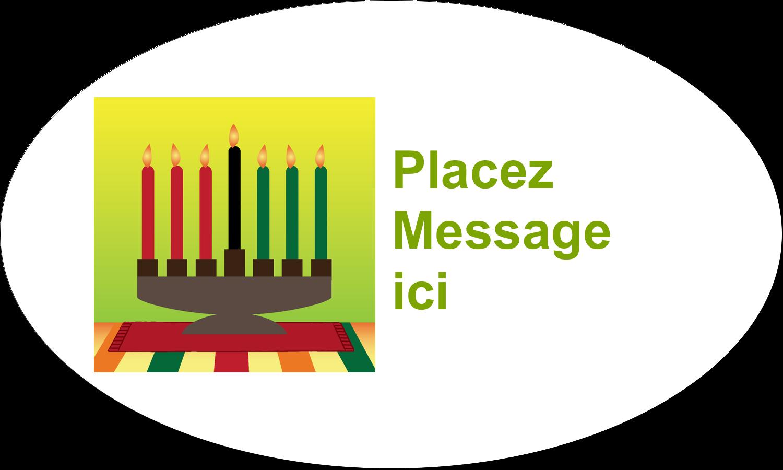 """1½"""" x 1½"""" Étiquettes carrées - Lueur verte de Kwanzaa"""