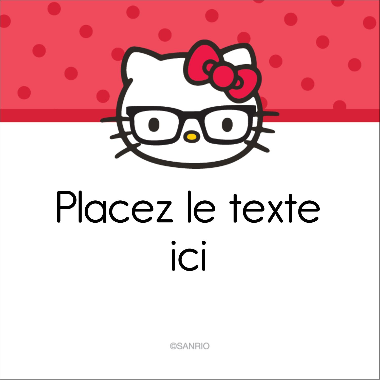 """2"""" x 2"""" Étiquettes carrées - Votre Ami Hello Kitty"""