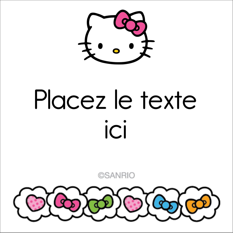 """2"""" x 2"""" Étiquettes carrées - Hello Kitty Cœurs et Nœuds"""