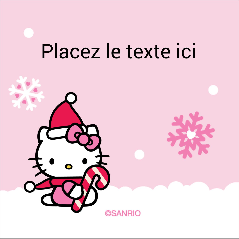 """2"""" x 2"""" Étiquettes carrées - Canne en bonbon de Noël Hello Kitty"""