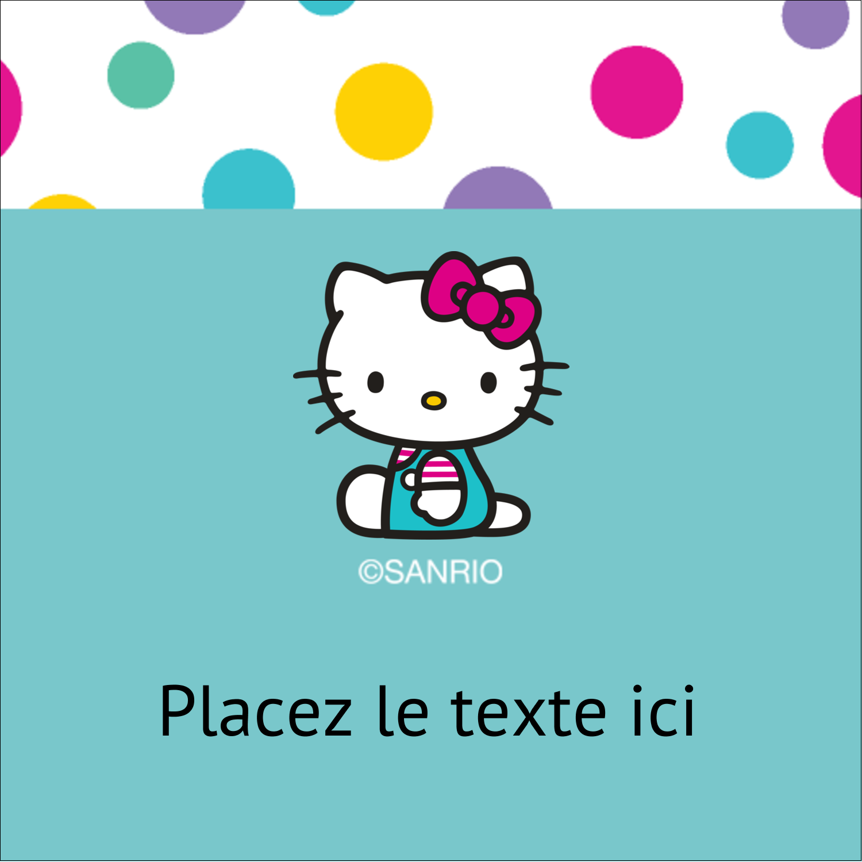 """2"""" x 2"""" Étiquettes carrées - Fête Hello Kitty"""