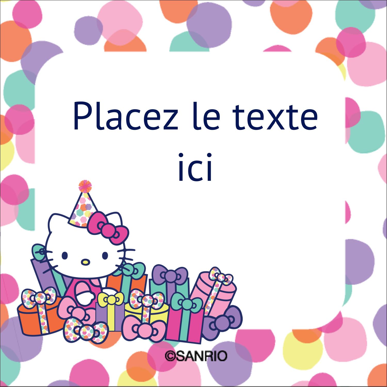 """2"""" x 2"""" Étiquettes carrées - Hello Kitty Anniversaire"""