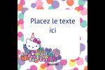Hello Kitty Anniversaire Étiquettes carrées - gabarit prédéfini. <br/>Utilisez notre logiciel Avery Design & Print Online pour personnaliser facilement la conception.