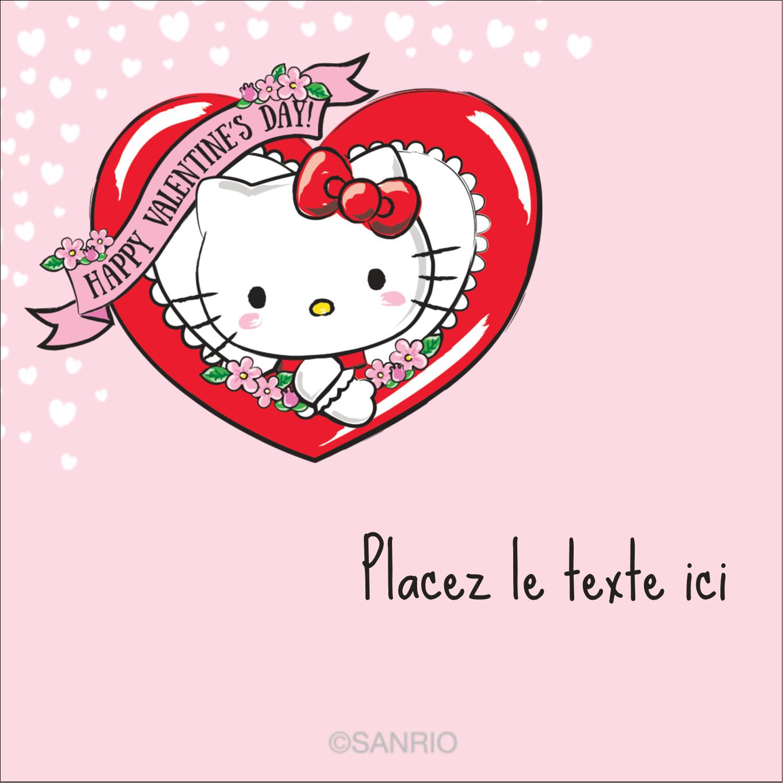 """2"""" x 2"""" Étiquettes carrées - Hello Kitty Saint-Valentin"""