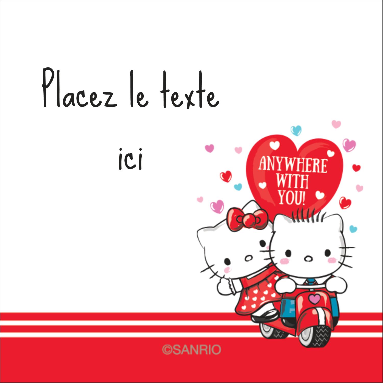"""2"""" x 2"""" Étiquettes carrées - Hello Kitty et Cher Daniel Valentin"""